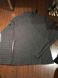 Womens Gray Stripes turtle neck long sleeves
