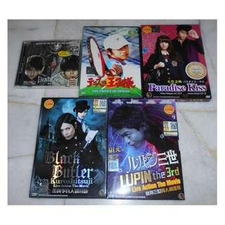 [JAPAN MOVIE][READY STOCK] DEATH NOTE, PRINCE OF TENNIS, PARADISE KISS, BLACK BUTLER & LUPIN THE 3RD DVD MOVIE - EACH DVD RM15 (NOT INCLUDE POSTAGE)