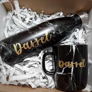 Personalised Bridesmaid Box Wedding Anniversary Gift Birthday Gift Farewell Gift Corporate Gift Black and Gold Theme Calligraphy Emboss Marble Mug Vacuum Flask Marble Cup Tumbler Water Bottle 500ml