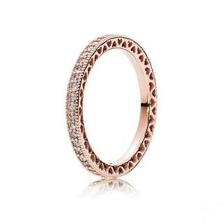 e566cc0a0 Pandora Rose Gold Hearts of Pandora Ring 92.5 Sterling Silver Women's  Bracelet Available Size ...