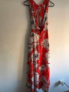 Maxi red print dress with split