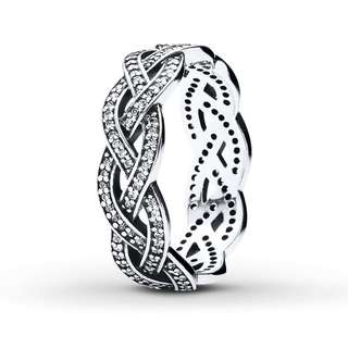 70951a7e9 Pandora Silver Sparkling Braid Ring 92.5 Sterling Silver Women's Bracelet  Available Size ...