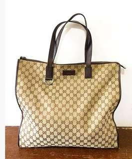 Gucci Vintage Original Tote Bag canvass GG
