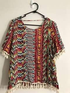 Colourful hippy top with tassels
