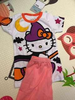 🚚 Carter's set hello kitty Halloween / white with pink polka dots