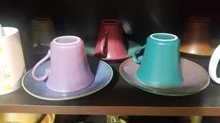 🚚 整組陶藝咖啡杯,一共有6個