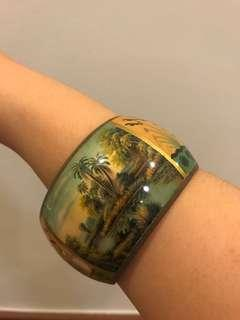 Filipino Artist painted metal bracelet