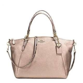 COACH KELSEY SMALL IN METALLIC LEATHER/ EXOTIC TRIM PLATINUM LEATHER SATCHEL