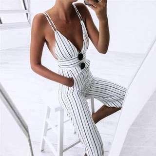 Tia-Nova - Chantal Jumpsuit - Striped Spaghetti Strap Jumpsuit - Size S