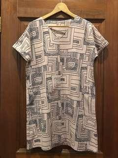 🚚 Khaki Brown Aztec Geometric Print Shift Dress