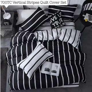 Vertical Striped Black White Fitted Bedsheet Quilt Cover Set