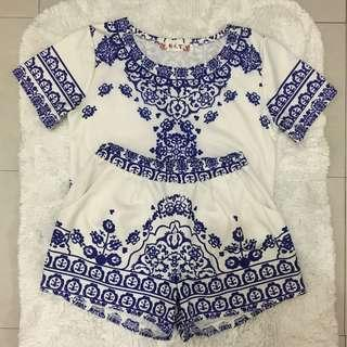 White and Blue Terno