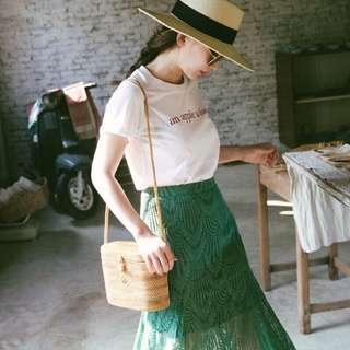 🚚 Mercci22 葉子蕾絲魚尾裙💚綠S
