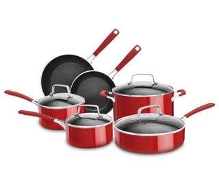 🚚 KitchenAid 10 Piece Aluminum Nonstick Set, Large, Empire Red