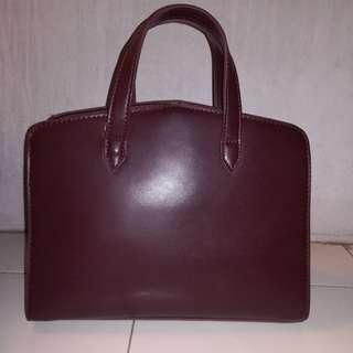 ZALORA Maroon Structured Top Handle Handbag