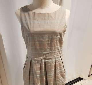 Gray and blue striped dress