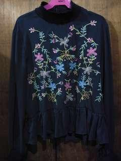 Mags blue with floral designs long sleeves