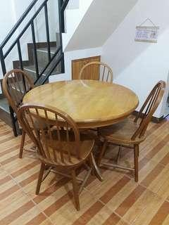 1997 Round Dining Table for 4 Made of Malaysian Wood