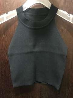 短版針織削肩背心