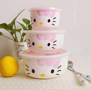 🚚 New Microwave bowls ceramic with lids hellokitty kitchenware plate hello kitty kitchen set