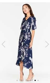 TCL Sharise Floral Printed Midi Dress in Navy