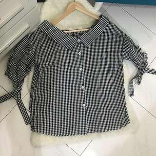 CNY sale - black checked top