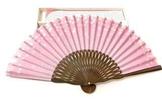 KYOTO YAMANI Woodcraft Fabric Japanese Cultural Fan *Collector item* Pink!