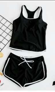 🚚 黑色兩件式泳衣XL
