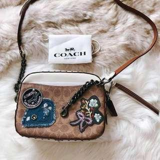Authentic Coach Camera Bag Patches And Rivets CM035