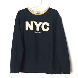 Sweatshirt Blue Sweatshirt Comfy Knitted Shirt Long Sleeve Shirt NYC Sweatshirt Blue Black Sweatshirt With Slits