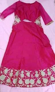 Jinder's Pink Fuchsia Lengha Dress plus size UK 14 to 16