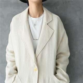 🚚 簡約風 米白色 棉麻 薄款 寬鬆大衣外套