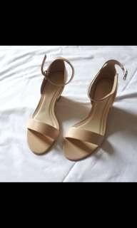 [Charles & Keith] Nude Wedges with Ankle Strap