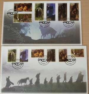 2001 Lotr FDC stamps first day cover lord of the rings Ringwraith Fellowship New Zealand hobbit Tolkien