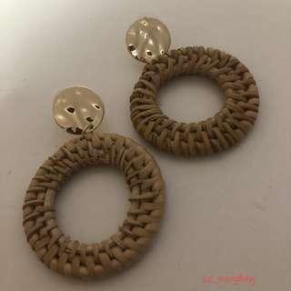 🚚 Fashion Rattan Circle Drop Earring