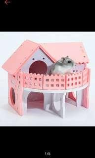 *PO* pink wooden hamster house