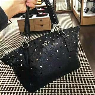 SMALL KELSEY SATCHEL WITH STARDUST STUDS (COACH F22312)