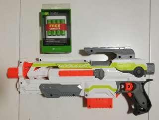 USED Nerf Modulus ECS motorized blaster White with 6 Darts Hasbro TRU