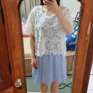 🚚 花花縷空蕾絲淺藍色洋裝 氣質