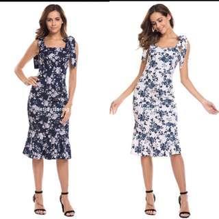🚚 PLUS SIZE IKNT Women Lace-Up Strap Floral Vintage Style Bodycon Dress