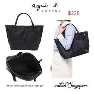READY STOCK authentic new Agnes B fsar-02 shoulder tote black large canvas bag
