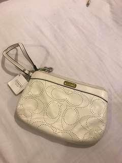 Coach White leather Pouch Original