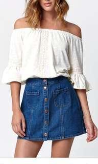 🚚 BNWT button down denim skirt