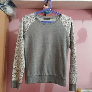 Terranova Sweater Sweat shirt Cotton Gray Long Sleeves Top Blouse Jacket with Lace