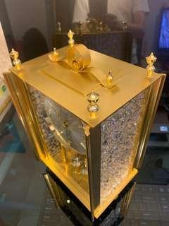全新日本MASTER古董黄銅水晶石英座鐘