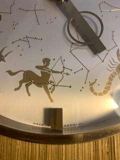 德國KIENZLE西洋星座古董黃銅石英座鐘