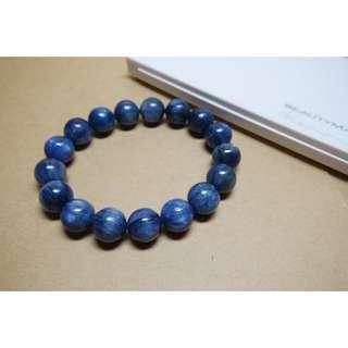 ♥原色天然藍晶石手鍊♥11mm~42.4克~無烤色染色加色/原汁原味/帶貓眼效果/手珠/手串/圓珠/手鏈