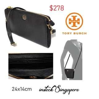 READY STOCK authentic new Tory Burch Tory Burch Brody Pebbled Wallet Crossbody Bag Black # 49123 0218