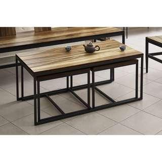 Solid Wild Almond wood and steel Coffee Table - brand new