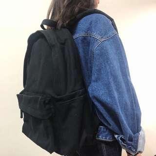 🚚 無印良品 MUJI 撥水加工棉質後背包 後背包 黑色 男女皆可
